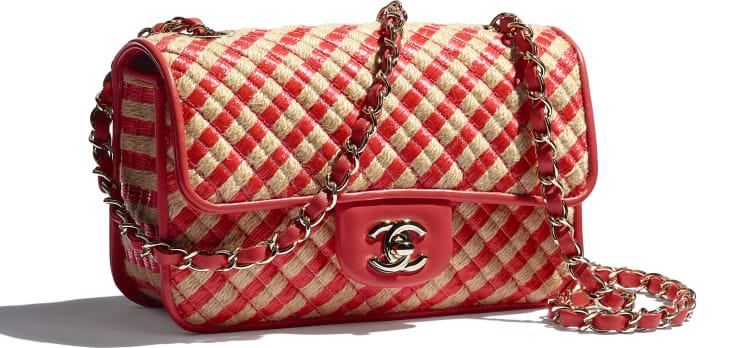 image 4 - Small Flap Bag - Raffia, Jute Thread & Gold-Tone Metal - Red & Beige