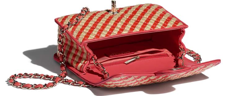 image 3 - Small Flap Bag - Raffia, Jute Thread & Gold-Tone Metal - Red & Beige