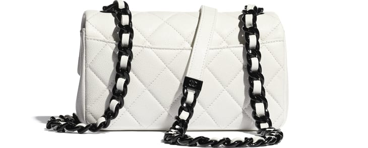 image 2 - Small Flap Bag - Grained Calfskin & Lacquered Metal - White & Black
