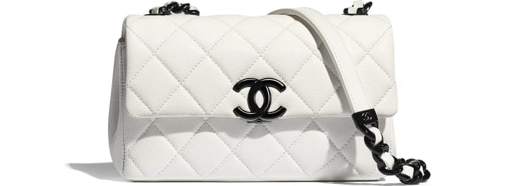 image 1 - Small Flap Bag - Grained Calfskin & Lacquered Metal - White & Black