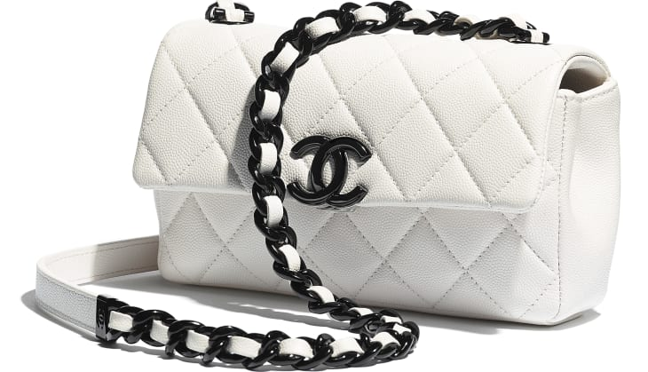 image 4 - Small Flap Bag - Grained Calfskin & Lacquered Metal - White & Black