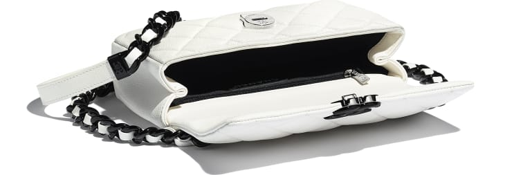 image 3 - Small Flap Bag - Grained Calfskin & Lacquered Metal - White & Black