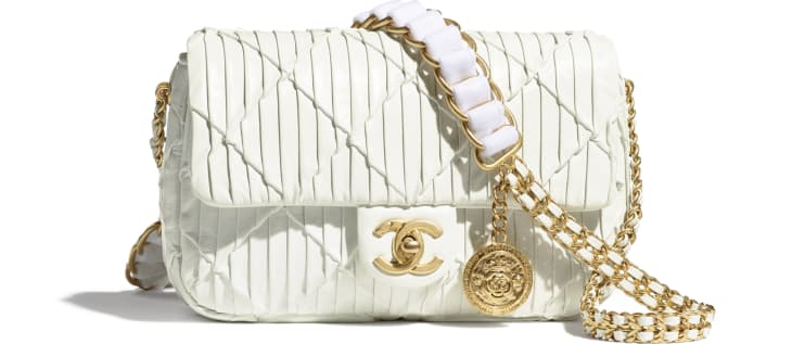 image 1 - Small Flap Bag - Pleated Calfskin & Gold-Tone Metal - White