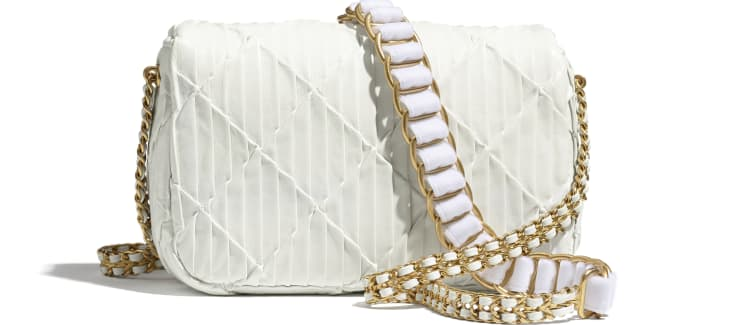 image 2 - Small Flap Bag - Pleated Calfskin & Gold-Tone Metal - White