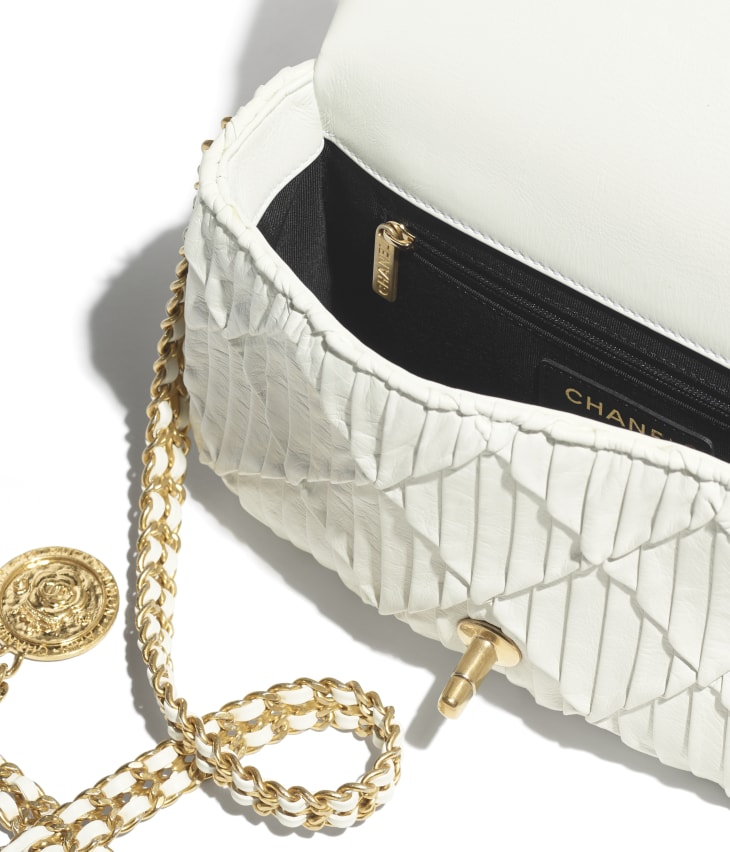 image 3 - Small Flap Bag - Pleated Calfskin & Gold-Tone Metal - White