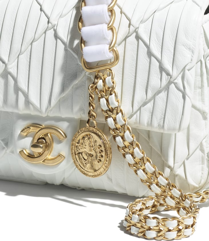 image 4 - Small Flap Bag - Pleated Calfskin & Gold-Tone Metal - White
