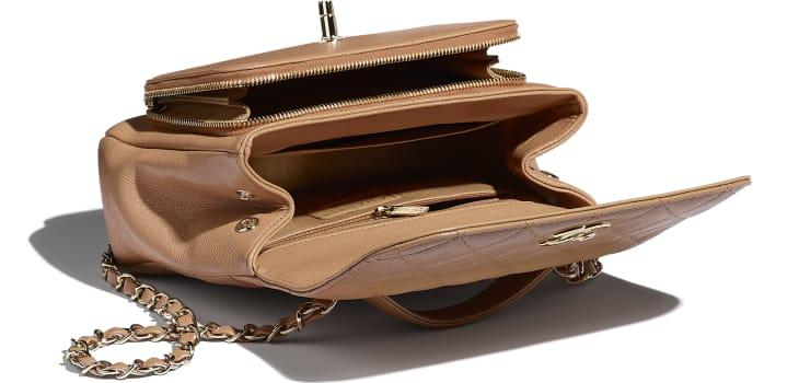 image 3 - Bolsa Pequena Com Alça - Couro De Novilho Granulado & Metal Dourado - Marrom