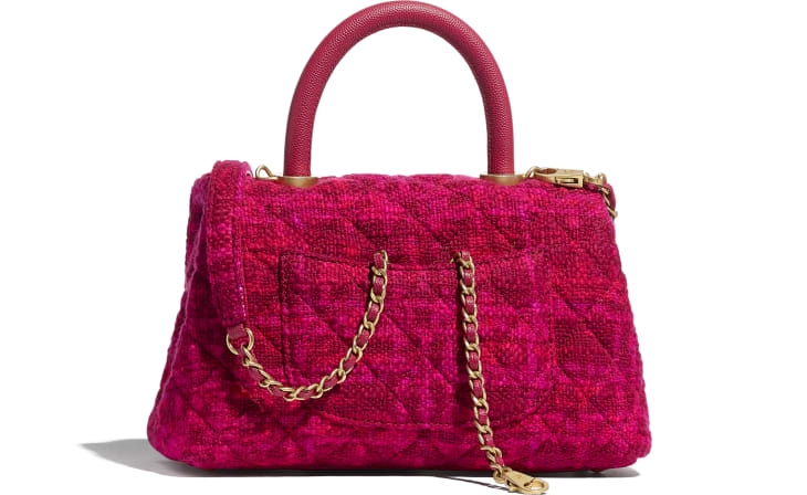 image 2 - Small Flap Bag with Top Handle - Cotton Tweed, Grained Calfskin & Gold-Tone Metal - Fuchsia & Red