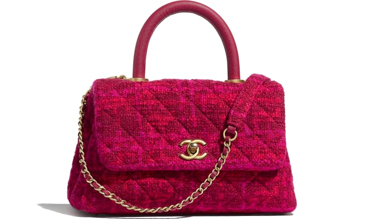 image 1 - Small Flap Bag with Top Handle - Cotton Tweed, Grained Calfskin & Gold-Tone Metal - Fuchsia & Red