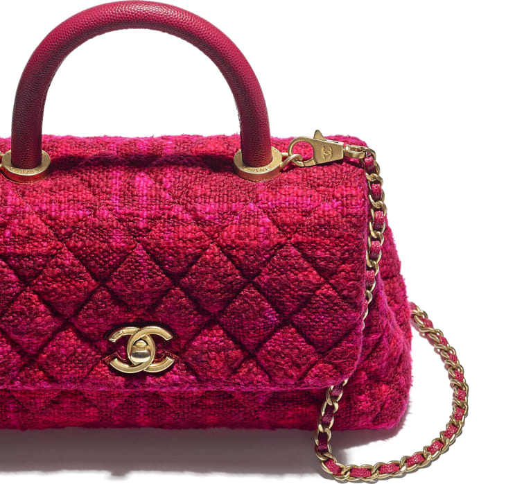 image 4 - Small Flap Bag with Top Handle - Cotton Tweed, Grained Calfskin & Gold-Tone Metal - Fuchsia & Red