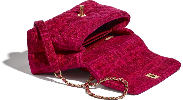 image 3 - Small Flap Bag with Top Handle - Cotton Tweed, Grained Calfskin & Gold-Tone Metal - Fuchsia & Red