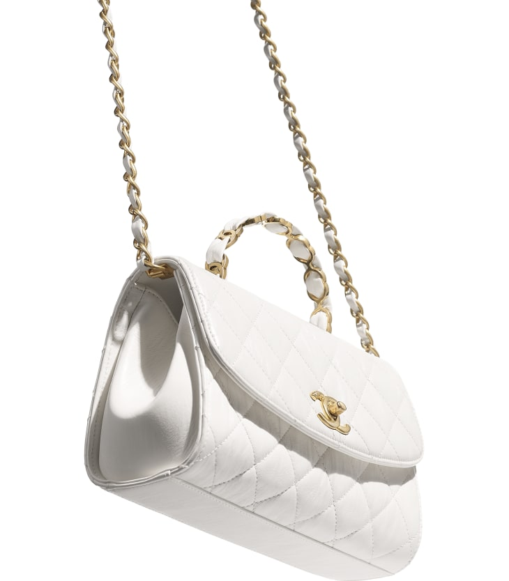 image 3 - Small Flap Bag with Top Handle - Crumpled Lambskin & Gold-Tone Metal - White