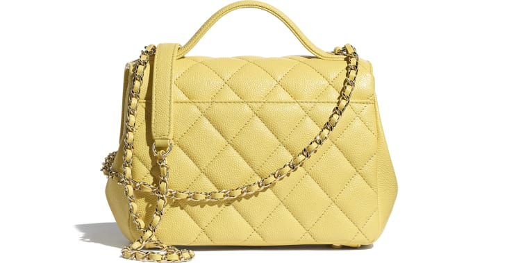 image 2 - Small Flap Bag with Top Handle - Grained Calfskin & Gold-Tone Metal - Yellow