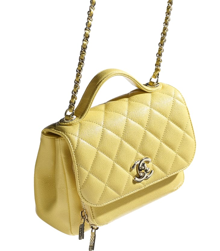 image 4 - Small Flap Bag with Top Handle - Grained Calfskin & Gold-Tone Metal - Yellow