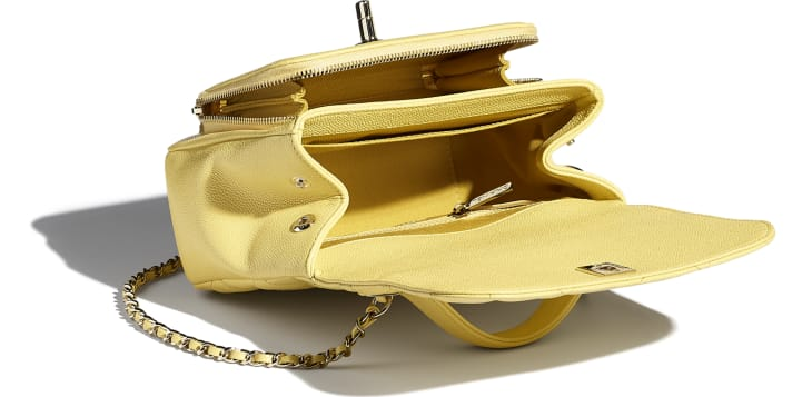 image 3 - Small Flap Bag with Top Handle - Grained Calfskin & Gold-Tone Metal - Yellow