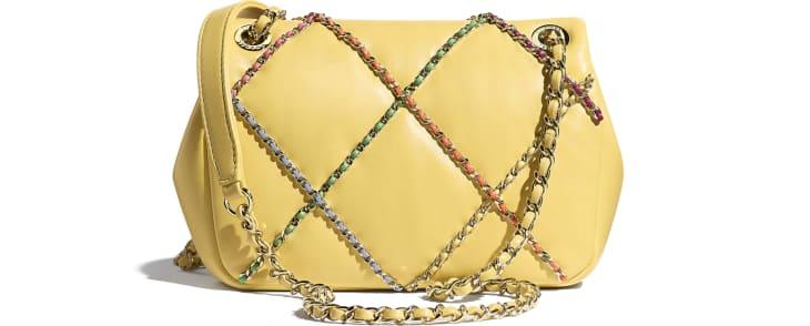 image 2 - Small Flap Bag - Lambskin & Gold Metal  - Yellow & Multicolour