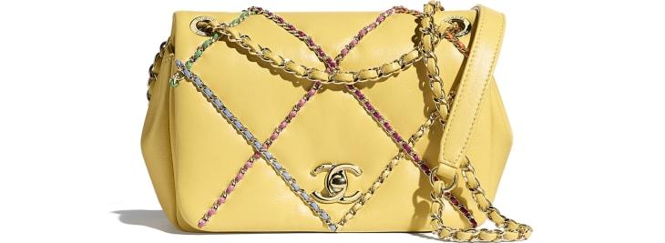 image 1 - Small Flap Bag - Lambskin & Gold Metal  - Yellow & Multicolour