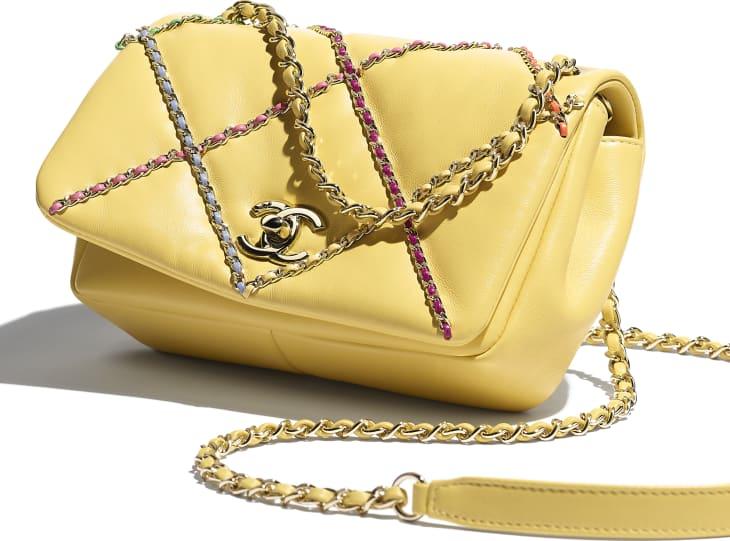image 4 - Small Flap Bag - Lambskin & Gold Metal  - Yellow & Multicolour