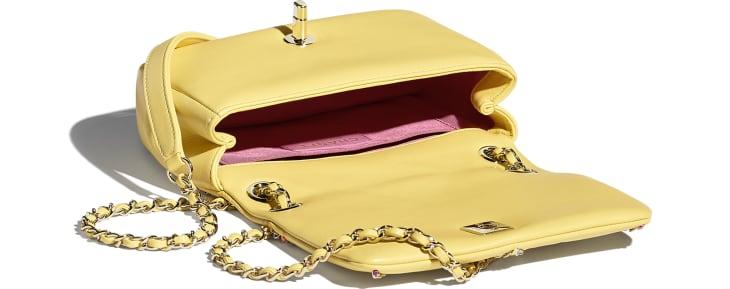 image 3 - Small Flap Bag - Lambskin & Gold Metal  - Yellow & Multicolour