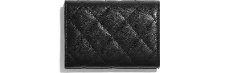 image 2 - Small Flap Wallet - Grained Calfskin & Lacquered Metal - Black