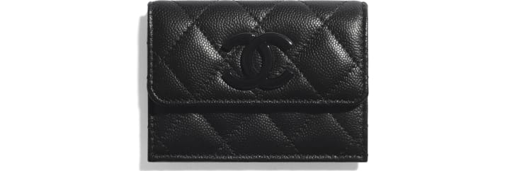 image 1 - Small Flap Wallet - Grained Calfskin & Lacquered Metal - Black