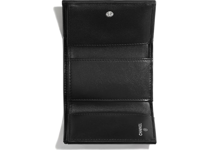 image 3 - Small Flap Wallet - Grained Calfskin & Lacquered Metal - Black