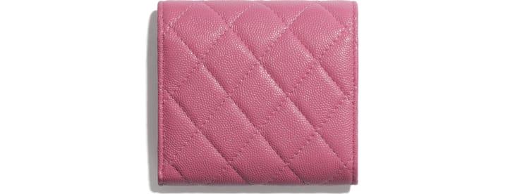 image 2 - Carteira Pequena - Couro de Novilho Granulado, Tecido & Metal Prateado - Rosa, Azul & Branco