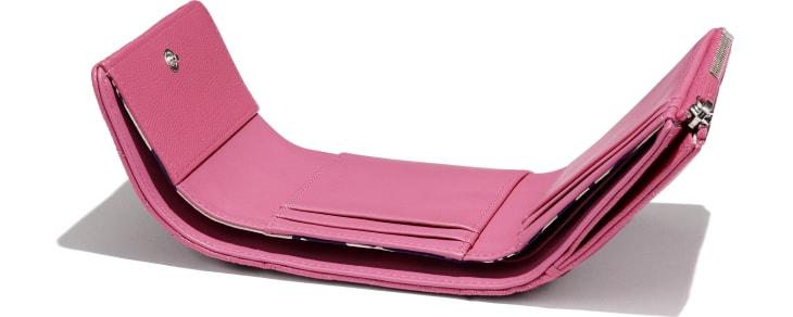 image 4 - Carteira Pequena - Couro de Novilho Granulado, Tecido & Metal Prateado - Rosa, Azul & Branco