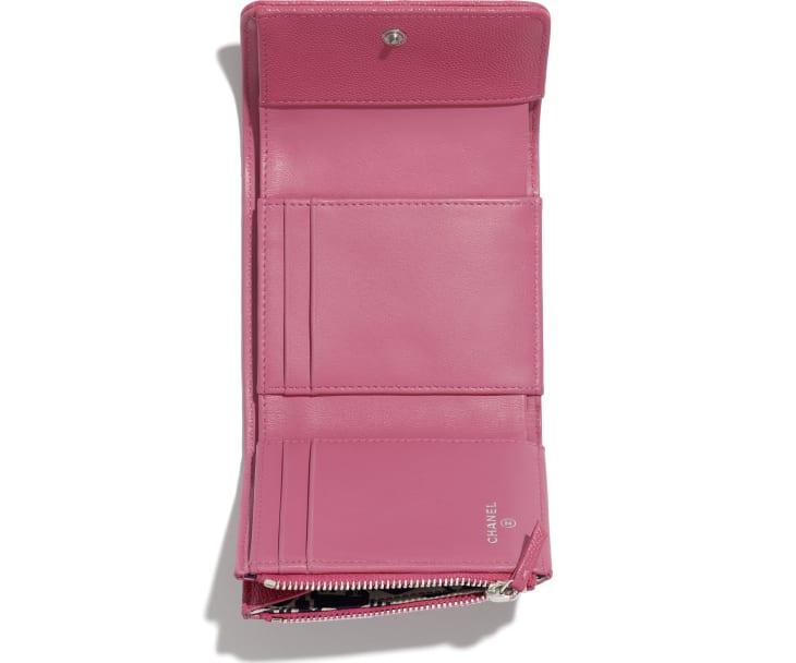 image 3 - Carteira Pequena - Couro de Novilho Granulado, Tecido & Metal Prateado - Rosa, Azul & Branco