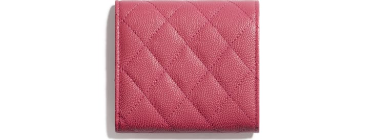 image 2 - Small Flap Wallet - Grained Calfskin & Gold-Tone Metal - Pink