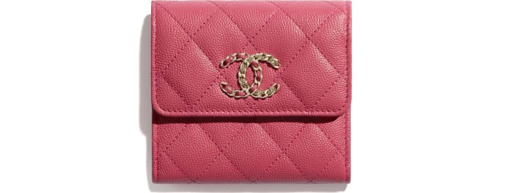 image 1 - Small Flap Wallet - Grained Calfskin & Gold-Tone Metal - Pink