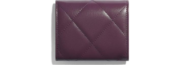 image 2 - Small Flap Wallet - Shiny Goatskin & Gold-Tone Metal - Purple