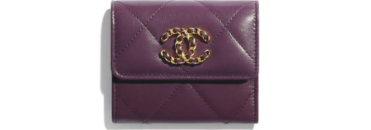 image 1 - Small Flap Wallet - Shiny Goatskin & Gold-Tone Metal - Purple
