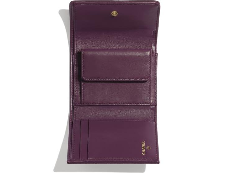 image 3 - Small Flap Wallet - Shiny Goatskin & Gold-Tone Metal - Purple
