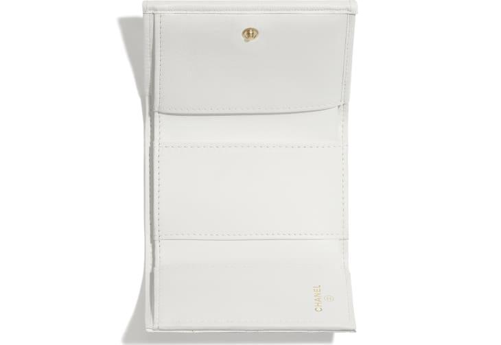 image 3 - Carteira Pequena - Couro de Novilho Brilhante Granulado - Branco
