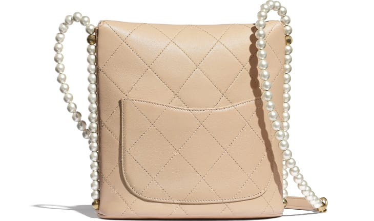 image 2 - Small Hobo Bag - Calfskin, Imitation Pearls & Gold-Tone Metal - Beige