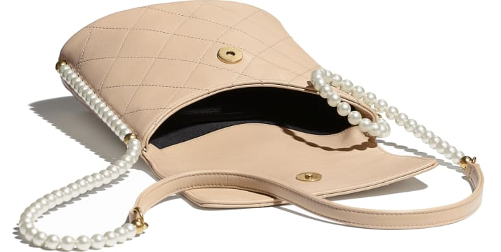 image 3 - Small Hobo Bag - Calfskin, Imitation Pearls & Gold-Tone Metal - Beige
