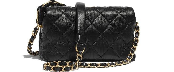 image 2 - Petit sac hobo - Agneau froissé & métal doré - Noir
