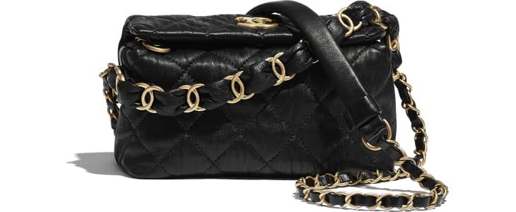 image 1 - Petit sac hobo - Agneau froissé & métal doré - Noir