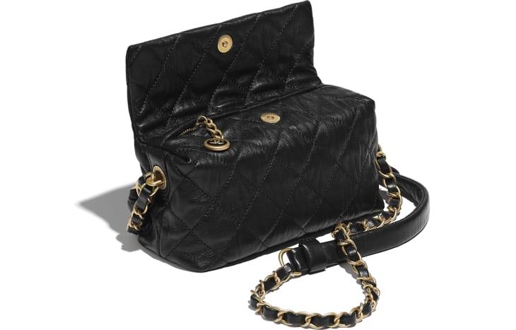 image 3 - Petit sac hobo - Agneau froissé & métal doré - Noir