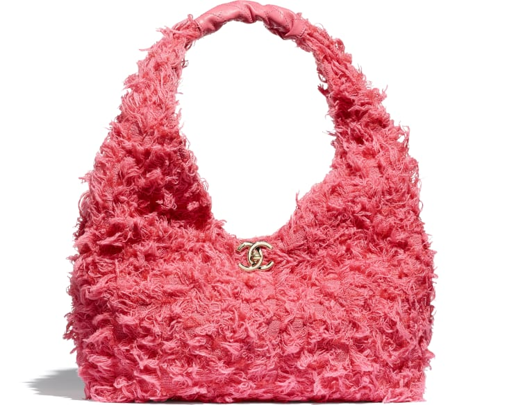 image 1 - Small Hobo Bag - Tweed, Calfskin & Gold-Tone Metal - Coral