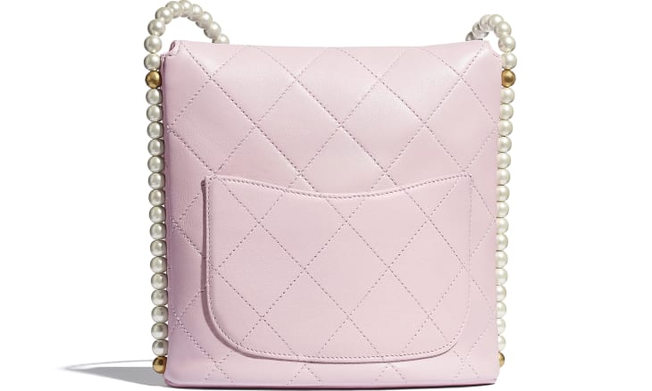 image 2 - Small Hobo Bag - Calfskin, Imitation Pearls & Gold-Tone Metal - Light Pink