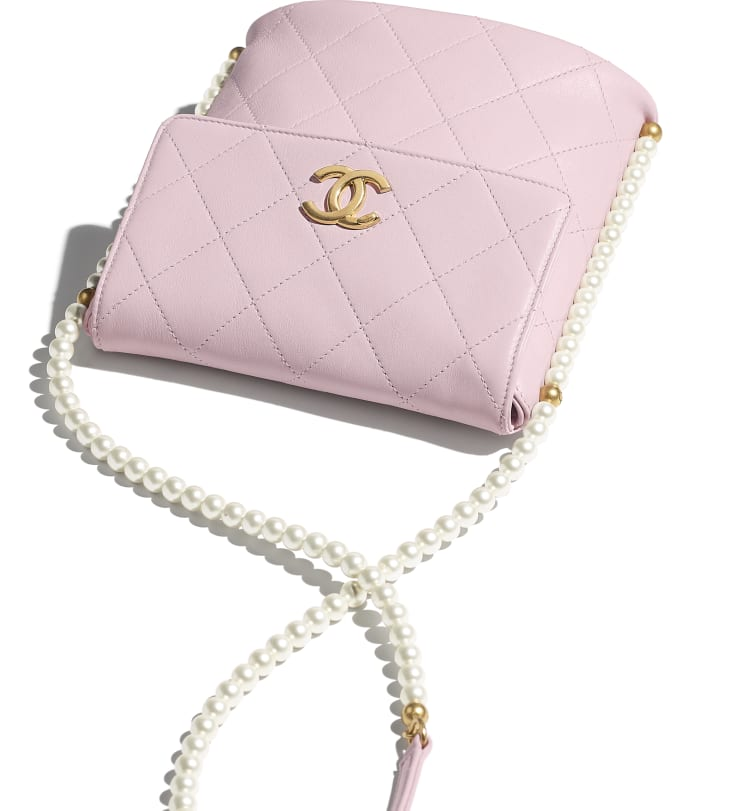 image 4 - Small Hobo Bag - Calfskin, Imitation Pearls & Gold-Tone Metal - Light Pink