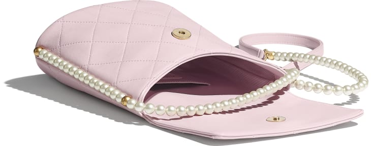 image 3 - Small Hobo Bag - Calfskin, Imitation Pearls & Gold-Tone Metal - Light Pink