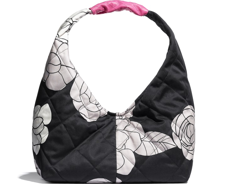 image 2 - Small Hobo Bag - Cotton Canvas, Calfskin & Gold-Tone Metal - White, Black & Pink