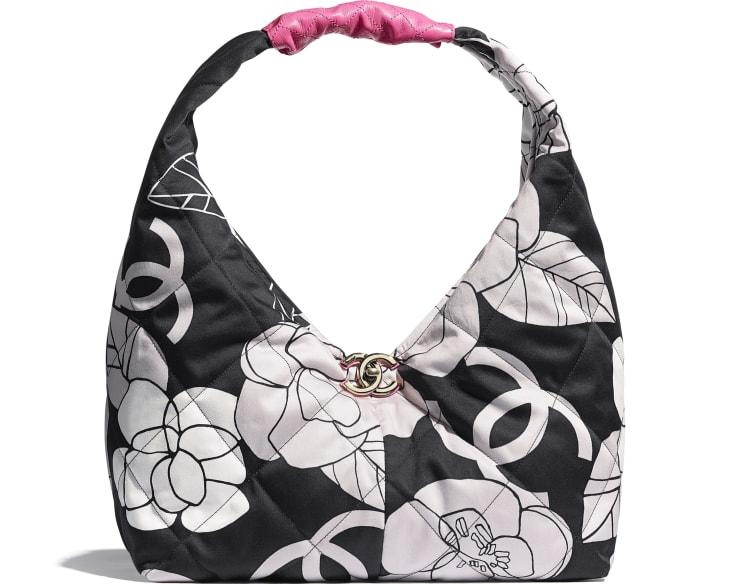 image 1 - Small Hobo Bag - Cotton Canvas, Calfskin & Gold-Tone Metal - White, Black & Pink