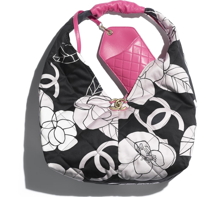 image 4 - Small Hobo Bag - Cotton Canvas, Calfskin & Gold-Tone Metal - White, Black & Pink