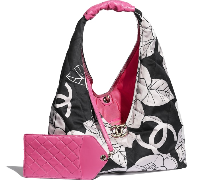 image 3 - Small Hobo Bag - Cotton Canvas, Calfskin & Gold-Tone Metal - White, Black & Pink