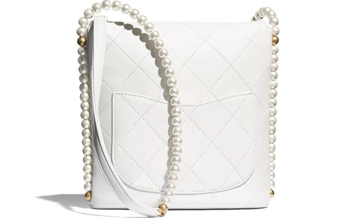image 2 - Small Hobo Bag - Calfskin, Imitation Pearls & Gold-Tone Metal - White