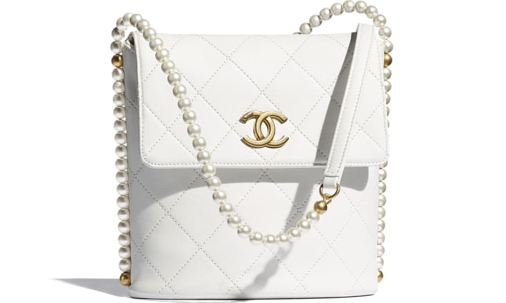 image 1 - Small Hobo Bag - Calfskin, Imitation Pearls & Gold-Tone Metal - White